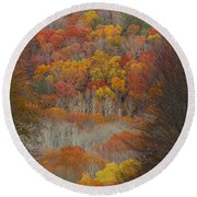 Fall Tunnel Round Beach Towel