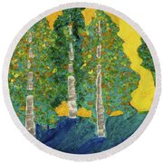Fall Turn At Sunset Round Beach Towel