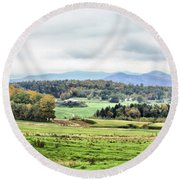 Fall Vermont Landscape Round Beach Towel