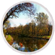 Fall Water Reflections Round Beach Towel