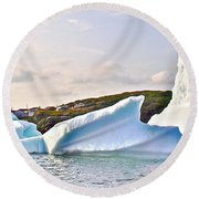 Fallen Clouds Icebergs In Saint Anthony Bay-newfoundland-canada  Round Beach Towel