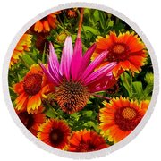 Fallen Coneflower Round Beach Towel
