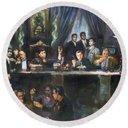 Fallen Last Supper Bad Guys Round Beach Towel by Ylli Haruni