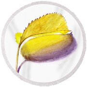 Fallen Leaf Yellow Shadows Round Beach Towel