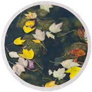 Fallen Leaves 2 Round Beach Towel