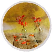 Fallen Leaves Round Beach Towel by Veikko Suikkanen