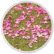 Fallen Rhododendron Round Beach Towel