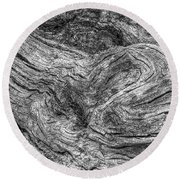 Fallen Tree Bark Bw Round Beach Towel
