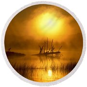 Fallen Tree In Misty Sunrise At Round Beach Towel