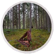 Fallen Tree Round Beach Towel