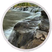 Falling Across The New River Round Beach Towel