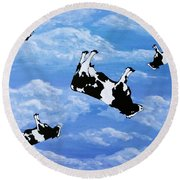 Falling Cows Round Beach Towel
