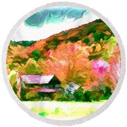 Falling Farm Blended Art Styles Round Beach Towel