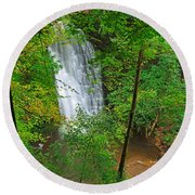 Falling Foss Waterfall In North York Moors National Park Round Beach Towel