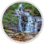 Falling From Mount Mitchell Round Beach Towel