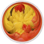 Falling Into A Flower Round Beach Towel