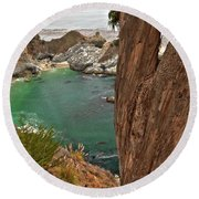 Falling Into The Bay Round Beach Towel