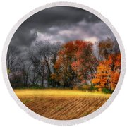 Falling Into Winter Round Beach Towel by Lois Bryan