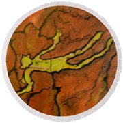 Falling Man Rock Art Round Beach Towel