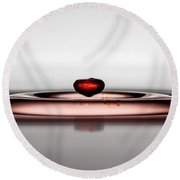 Falling Red Little Droplet Round Beach Towel