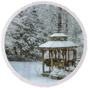 Falling Snow - Winter Landscape Round Beach Towel