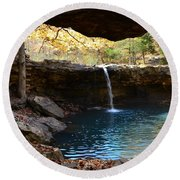 Falling Water View Round Beach Towel