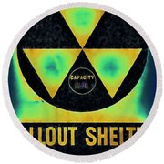 Fallout Shelter Abstract 2 Round Beach Towel