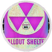 Fallout Shelter Wall 6 Round Beach Towel