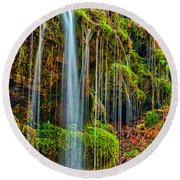 Falls And Moss Round Beach Towel