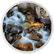 Falls And Rocks Round Beach Towel