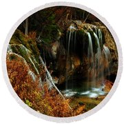 Falls At Hanging Lake Round Beach Towel