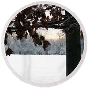 Falls Colors At First Snowfall Round Beach Towel