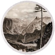 Falls Of The Yosemite Painting Round Beach Towel