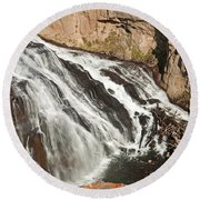 Falls On The Gibbon River In Yellowstone National Park Round Beach Towel