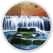 Falls Panorama-features In Groups Rivers Streams And Waterfalls-visions Of The Night Round Beach Towel