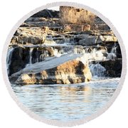 Falls Park Waterfalls Round Beach Towel