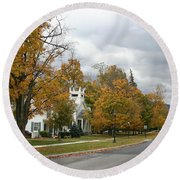 Autumn Trees At The Roadside Round Beach Towel