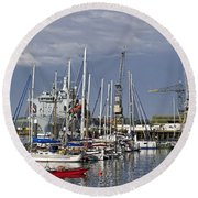 Falmouth Harbour And Docks Round Beach Towel