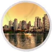 False Creek Triptych Centre Panel Round Beach Towel