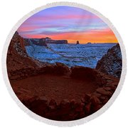 False Kiva Sunset Round Beach Towel