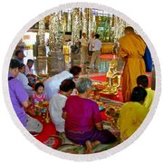Families Awaiting Teaching From A Monk At Wat Tha Sung Temple In Uthaithani-thailand Round Beach Towel