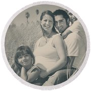 Family Beach Day Round Beach Towel