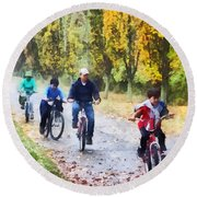 Family Bike Ride Round Beach Towel
