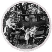 Family Camping Round Beach Towel