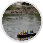 Family Canoeing At Lower Tahquamenon Falls Round Beach Towel