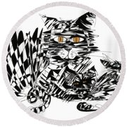 Family Cat Round Beach Towel