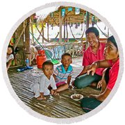Family In Countryside Outside Of Siem Reap-cambodia Round Beach Towel