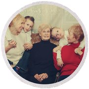 Family Round Beach Towel by Laurie Search