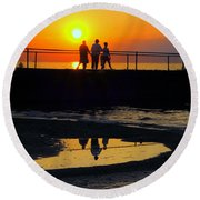Family Moment Round Beach Towel