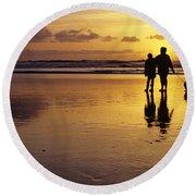 Family On Beach With Dog Sunset Round Beach Towel